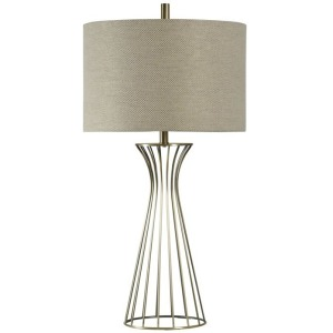 Classic Formed Metal Table Lamp with Drum Fabric Shade