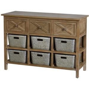 Natural & Galvanized 3 Drawer Storage Cabinet w/Galvanized bins