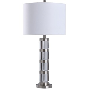 "Crystal Glass & Bushed Steel 32"" Transitional Table Lamp"
