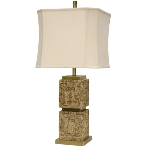 Mayan Design Carved Table Lamp w/ Metal Accent & Softback