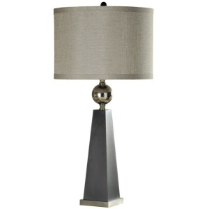 Hargis Injection Mold & Chrome Metal Accent Table Lamp w/Banded Trim Shade
