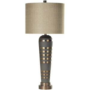 Pelham Ceramic Body and Brushed Brass Metal Base Table Lamp