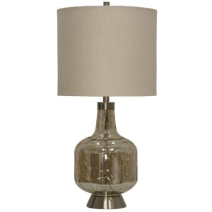 Majestic Glass & Steel Base Transitional Table Lamp