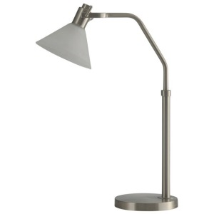 Brushed Steel | Adjustable Height Metal Task LED Lamp w/Glass Shade