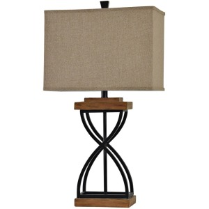 Black Metal X Lamp on Poly Base Natural Linen Shade