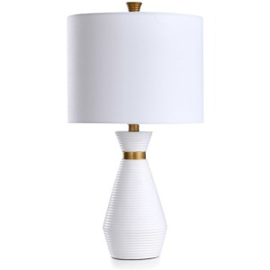 Satin White & Antique Brass Table Lamp