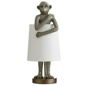 Ravena Standing Antique Brass Monkey Table Lamp with Shade Around Body