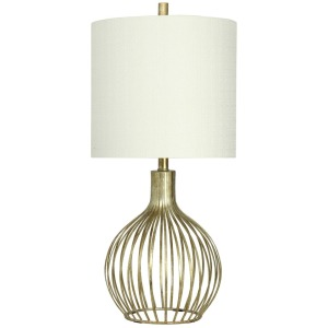 Transitional Metal Lamp in Vintage Gold Finish Drum Shade
