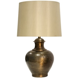Antique Brass Embossed Design Metal Base Table Lamp