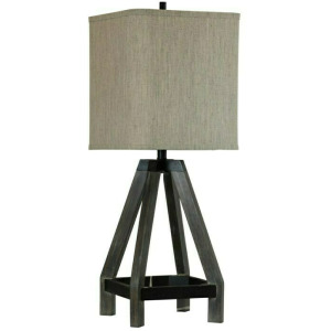Grey Stain & Black Wood Table Lamp with Square Hardback Shade