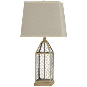 Washed Pine Metal Cage Traditional Table Lamp in Weathered Taupe