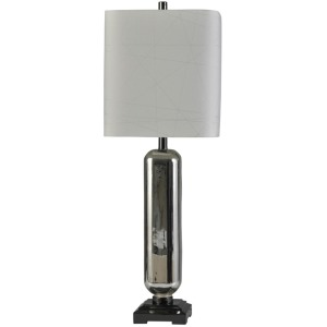 Stella Silver Transitional Glass and Steel Table Lamp