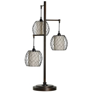 Antique bronze contemporary table lamp with metal cage shades