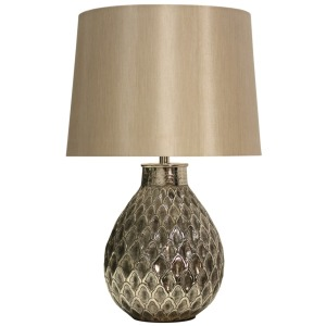 Antique Nickel Filigree Embossed Metal Table Lamp