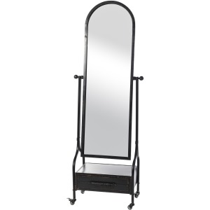 Cheval Mirror with Lower Storage Drawer