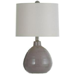 Cool Gray Ceramic Table Lamp w/Linen Hardback Shade