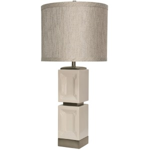 Bozeman White Ceramic & Metal Accent Table Lamp with Designer Fabric Match Trim Hardback Shade