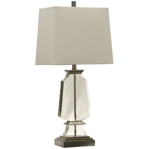 Lydia Blue Transitional Steel & Crystal Table Lamp
