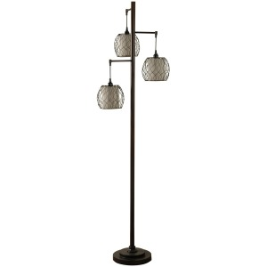 Mid-Modern lamp post inspired floor lamp with caged woven shades