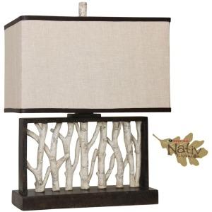 Rectangular Table Lamp with Birch Tree Motifs