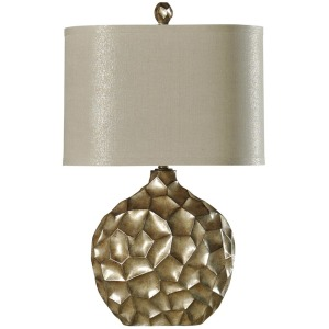 Contemporary Georgian Silver Lamp with Oval Fabric Shade