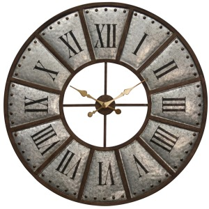 Large styled galvanized metal wall clock