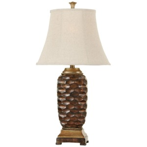 Transitional table lamp Winthrop Gold finish Textile natural linen shade
