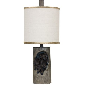 Baby Bears in a Tree Log Accent Lamp
