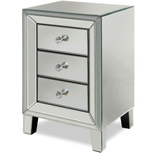 Mirrored Side Table with Three Drawers