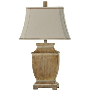 Traditional Faux Wood Lamp Natural Linen Shade Contrast Trim