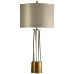 New Kirk Old Brass Metal Base Table Lamp w/ Designer Fabric