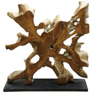 Mineral Form Elaborate Natural Solid Teak Wood Statue on Stand