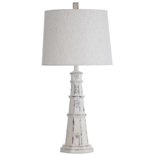 Distressed White Coastal Light House Table Lamp