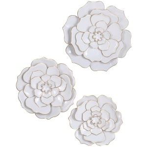 White Perennials Sculpted Wall Flowers - Set of 3