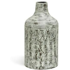 White Washed Decorative Floral Metal Vase