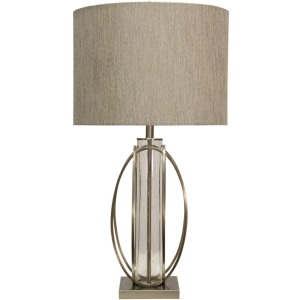 Brushed Steel & Seeded Glass Cylinder Table Lamp