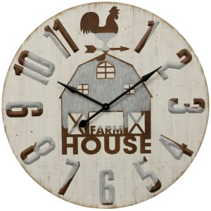 Farm House Barn Traditional Wood and Galvanized Metal Wall Clock