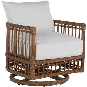 Newport Barrel Swivel Chair Frame w/Cushions - Burlap Resin