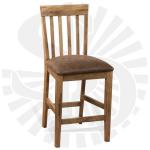 Oak Slatback Stool w/Cushion Seat