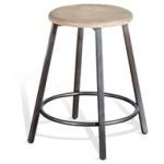 "24""H Metal Stool w/ Wood Seat (15""Rnd)"