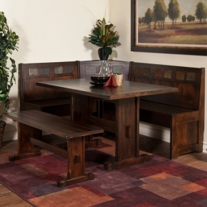 Sante Fe Breakfast Nook Set w/Side Bench, 4pc/set