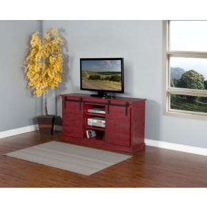 Burnt Red Barn Door TV Console