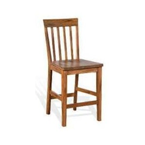 "24""H Sedona Slatback Barstool w/ Wood Seat"