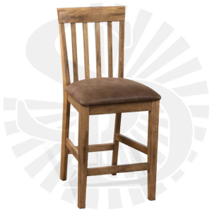 Oak Slatback Stool w/Cushion Seat
