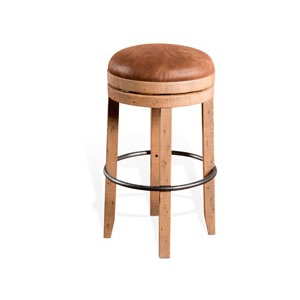 "24""H Metal Stool w/ Wood Seat (15""Rnd)"