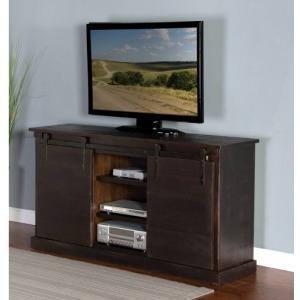 Charred Oak Barn Door TV Console