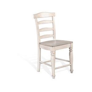 "24""H Ladderback Barstool, Wood Seat"