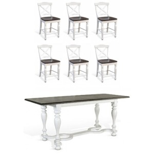 Counter Ht Table and 6 Crossback St