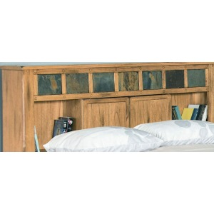 Eastern King Panel Bed w/ Bookcase Headboard
