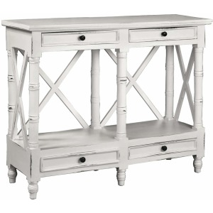 X Console Table – Distressed White